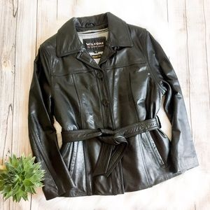 Wilsons Button Front Leather Jacket with Belt